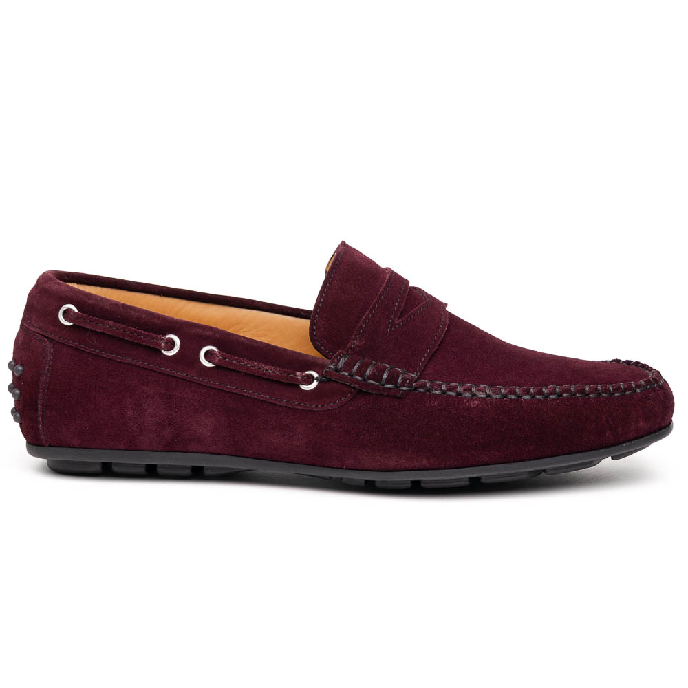 Calzoleria Toscana 2225 Suede Driving Shoes Burgundy Image