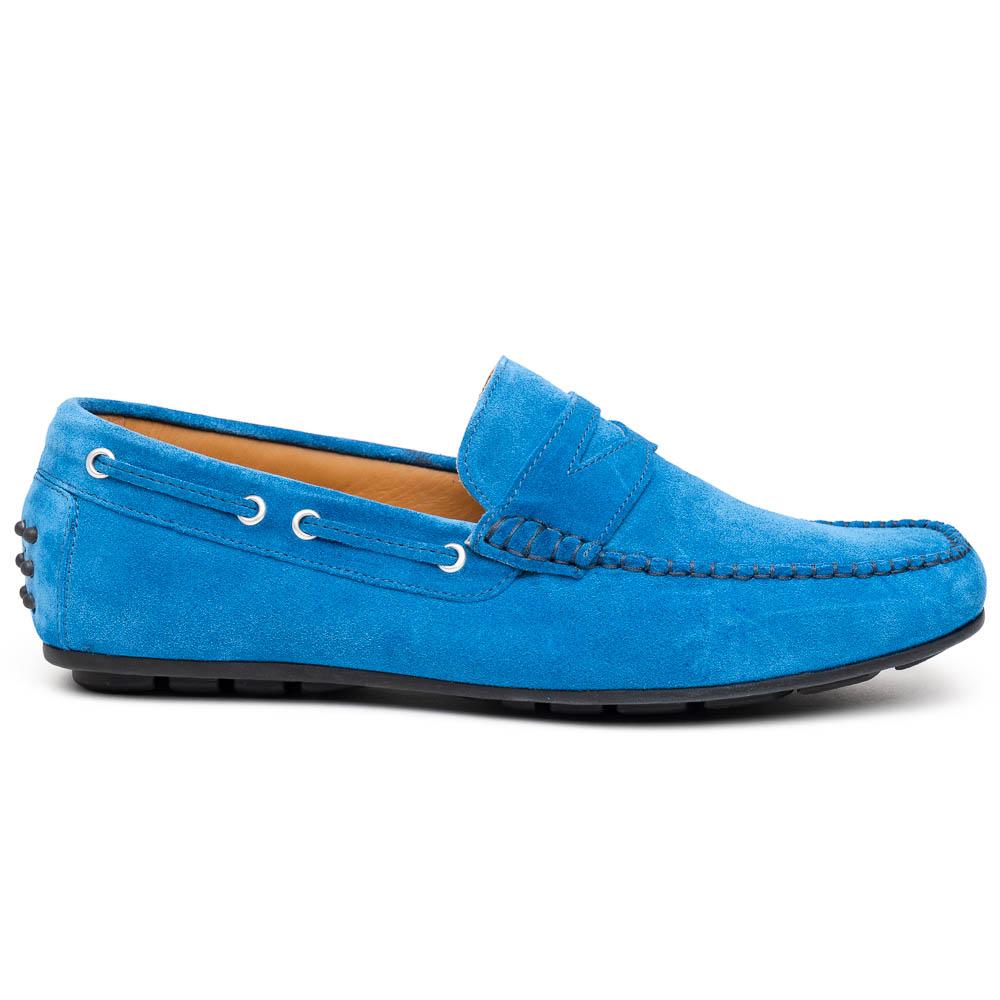 Calzoleria Toscana 2225 Suede Driving Shoes Denim Image