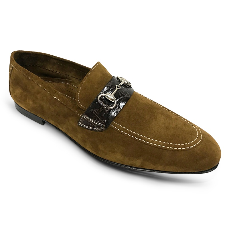 Zelli Mercedes Suede & Crocodile Loafers Taupe Image