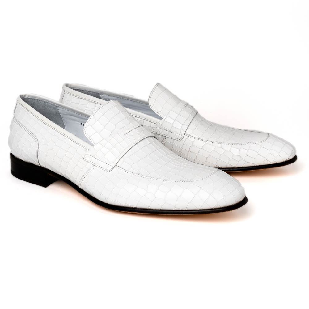 Corrente C019-3470 Croco Leather Loafer Shoes White Image