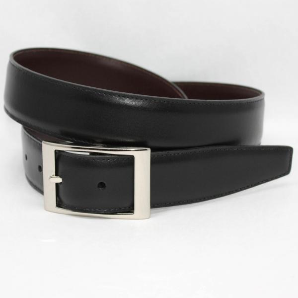 Torino Leather 35mm Reversible Aniline Belt Black/Brown Image