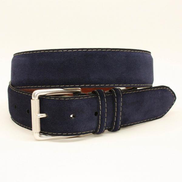Torino Leather 38mm European Suede Contrast Stitch Belt - Navy Image