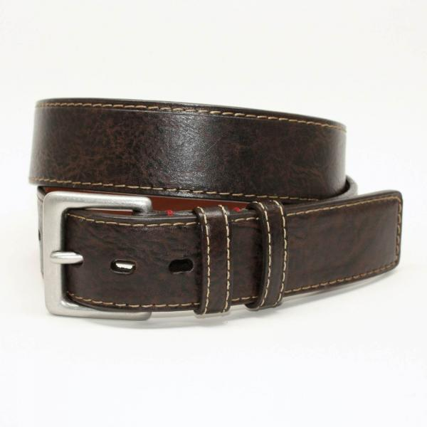 Torino Leather 40mm Antiqued Tumbled Glove Belt - Brown Image