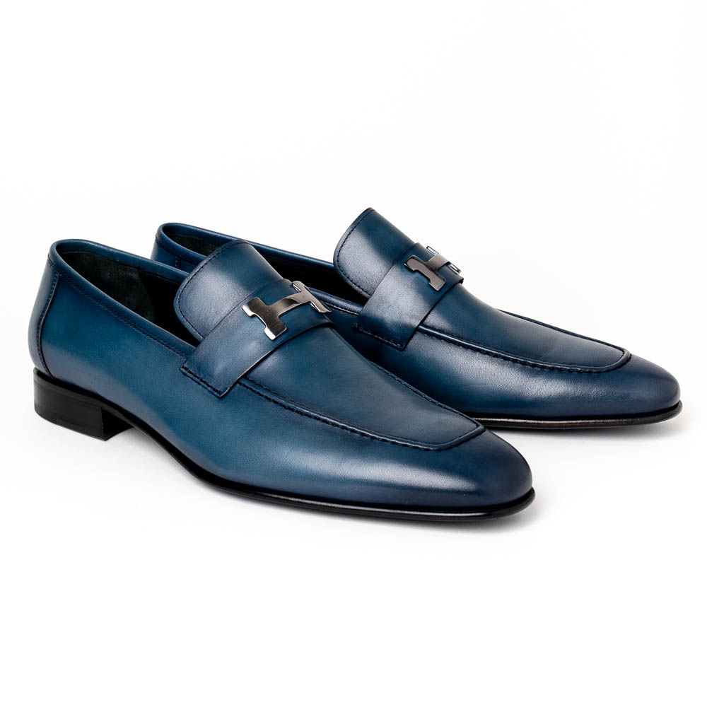 Corrente C02001-5760-H Buckle Loafer Shoes Blue Image