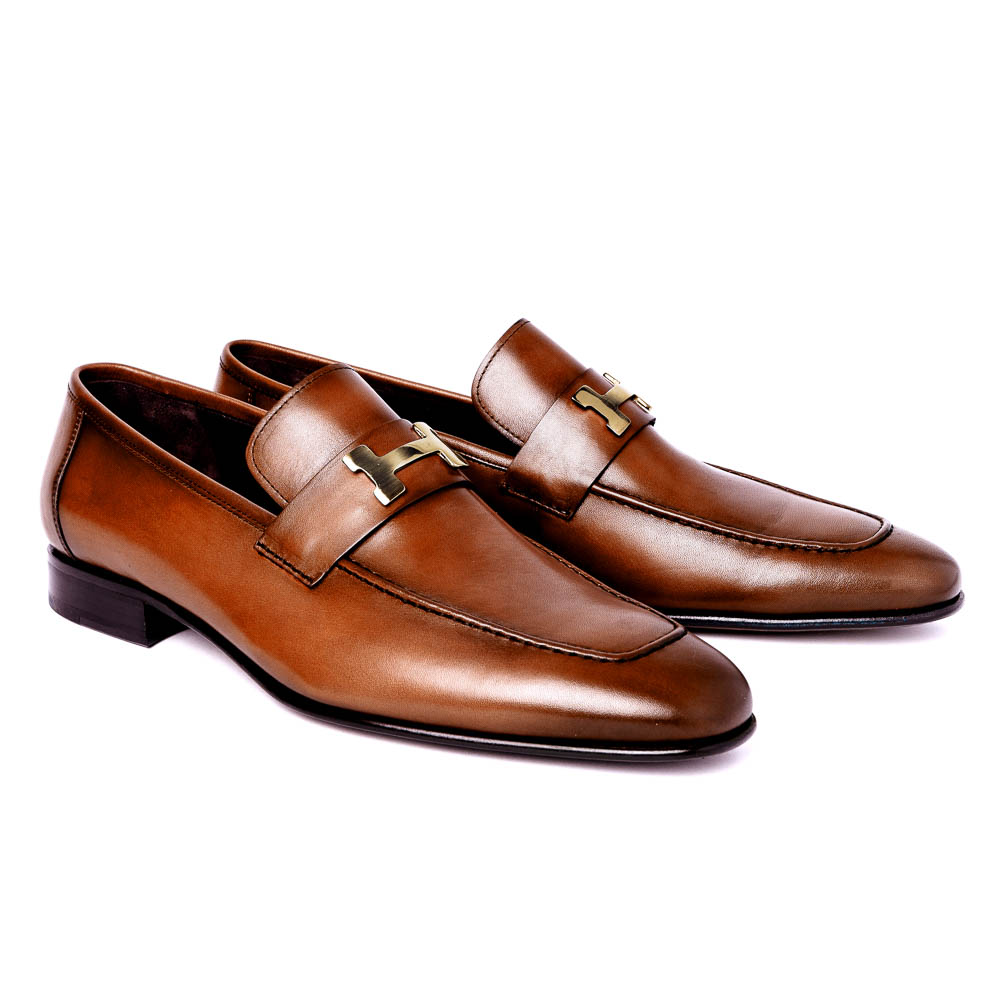 Corrente C02-5760-H Buckle Loafer Shoes Tan Image