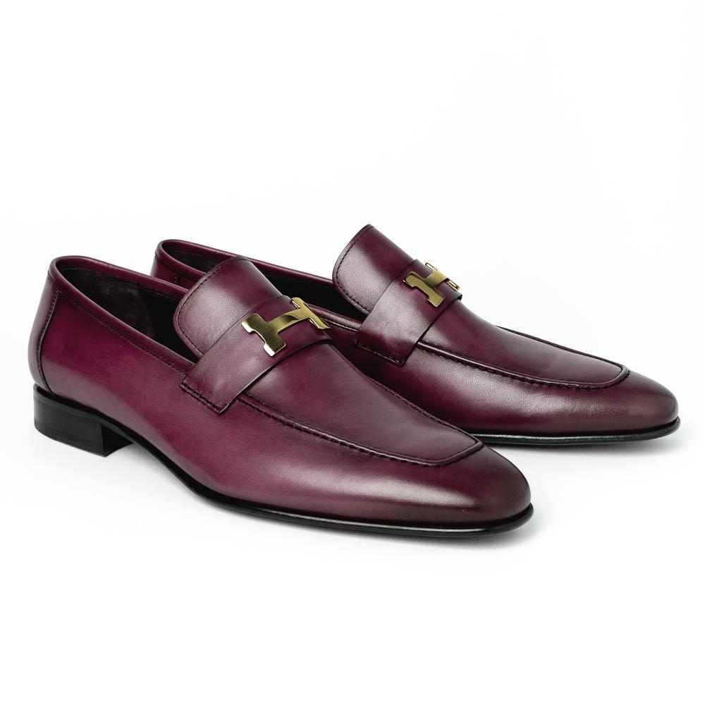 Corrente C02000-5760-H Buckle Loafer Shoes Burgundy Image