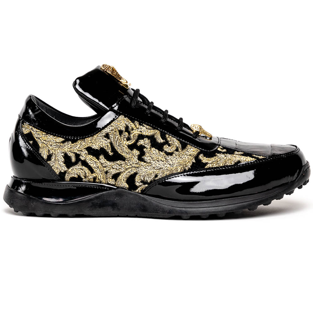 Mauri 8514 Patent / Baby Croc & Didier Fabric Sneakers Black / Gold Image