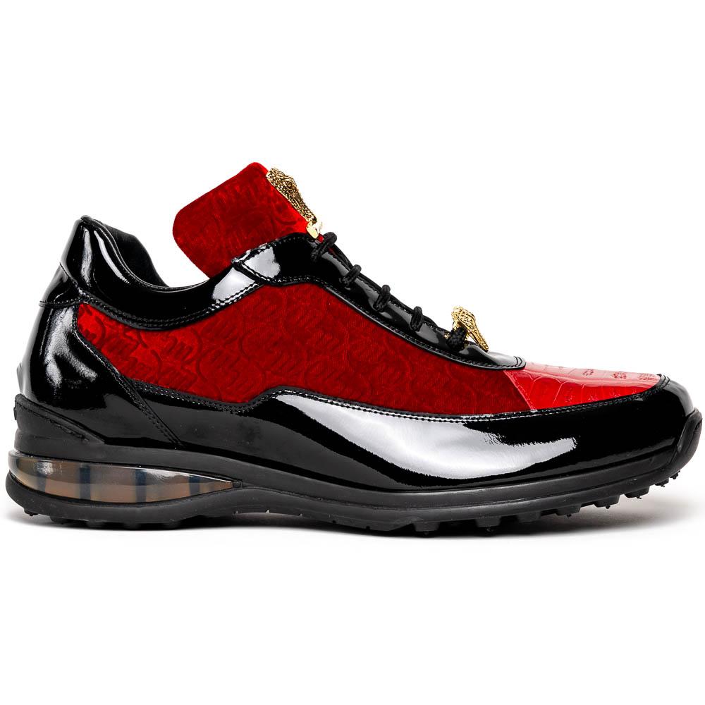 Mauri Bubble 8900/2 Patent Croc & Velvet Sneakers Black / Red Image