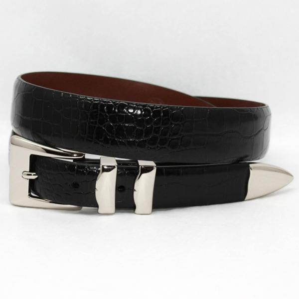 Torino Leather Big & Tall Alligator Embossed Calf Belt Nickel Set - Black Image