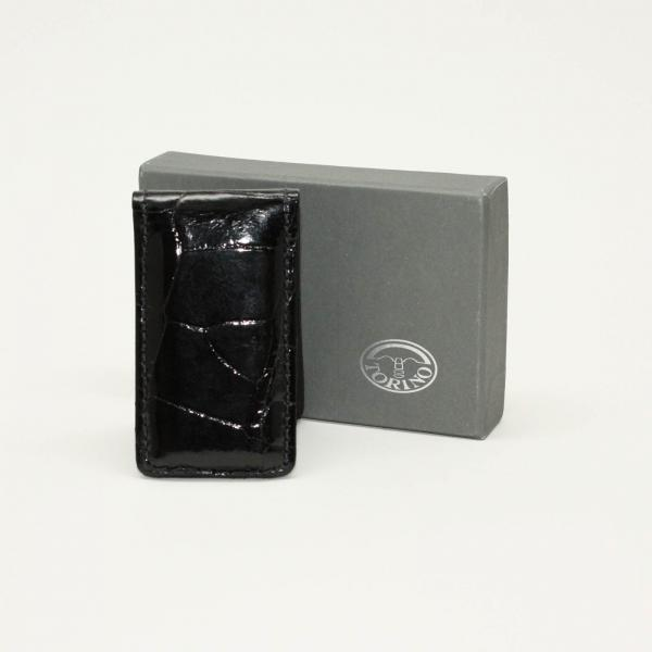 Torino Leather Alligator Magnetic Money Clip - Black Image