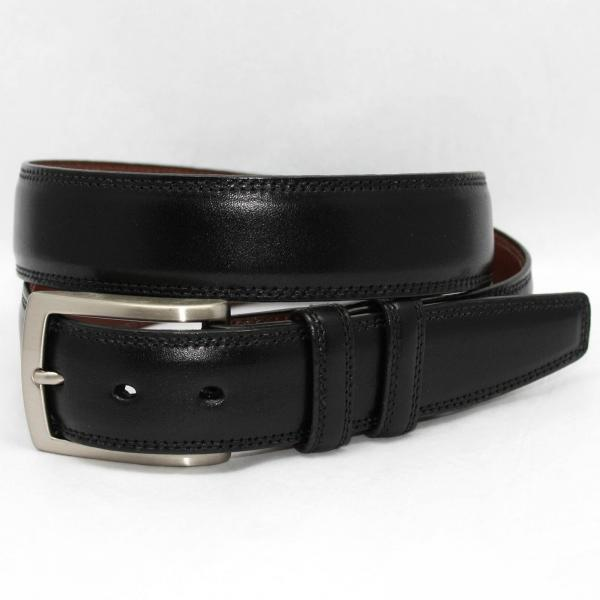 Torino Leather Big & Tall Burnished Veal Belt - Black Image