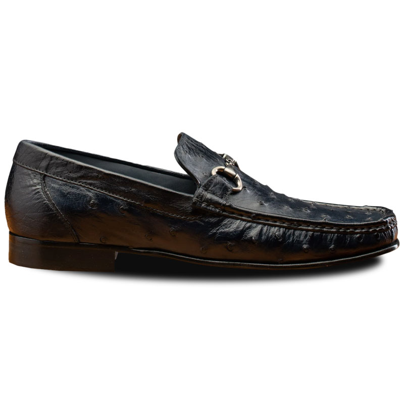 Calzoleria Toscana 3238M Ostrich Bit Loafers Navy Blue Image