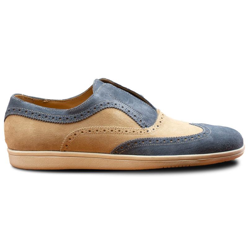 Calzoleria Toscana 4445 Suede Wingtip Slip Ons Blue Jean / Cream Image
