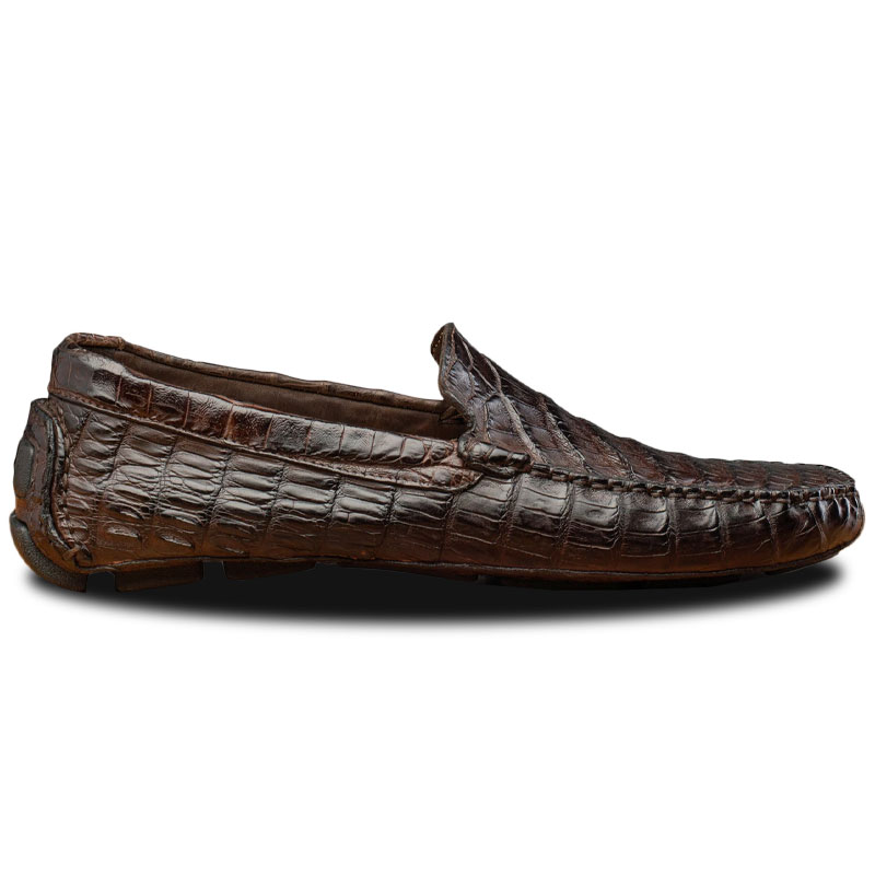 Calzoleria Toscana 4551 Crocodile Driving Shoes Dark Brown Image