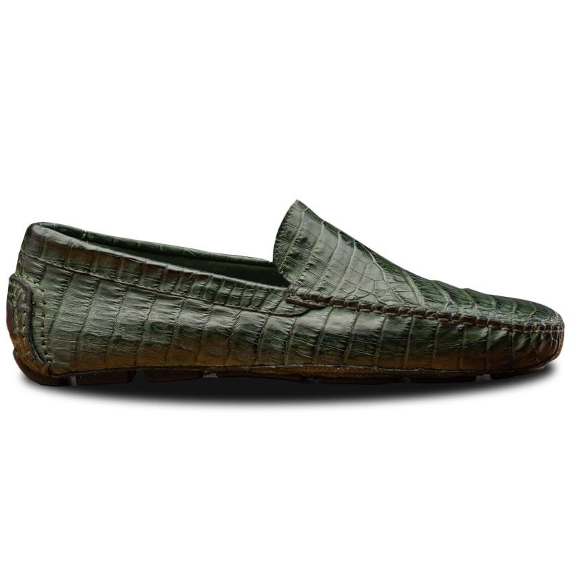 Calzoleria Toscana 4551 Crocodile Driving Shoes Green Image