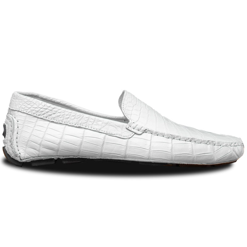 Calzoleria Toscana 4551 Crocodile Driving Shoes White Image
