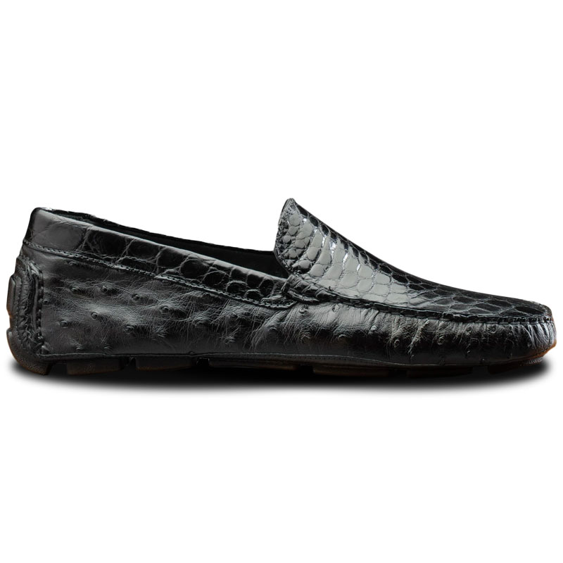 Calzoleria Toscana 8675 Ostrich & Crocodile Driving Shoes Black Image