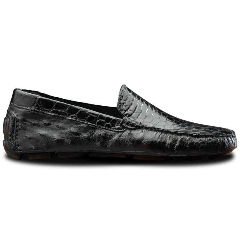 Calzoleria Toscana 8675 Ostrich & Crocodile Driving Shoes Black Image
