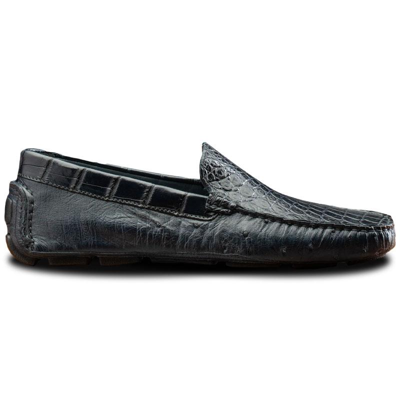 Calzoleria Toscana 8675 Ostrich & Crocodile Driving Shoes Blue Image