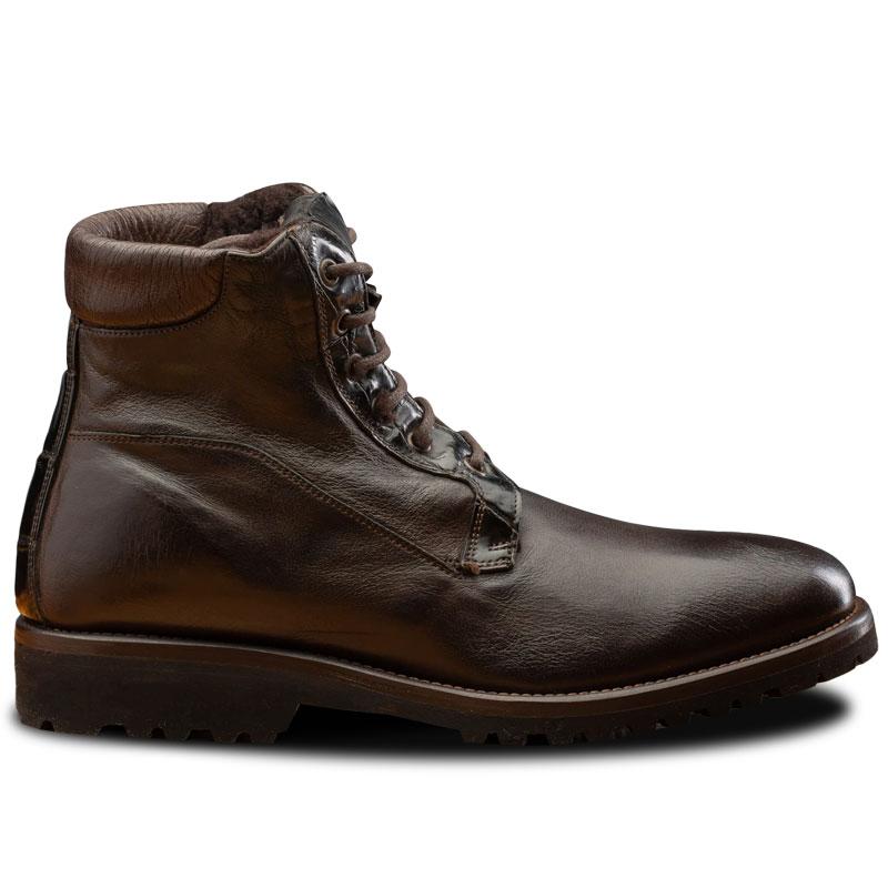 Calzoleria Toscana 3236 Buffalo & Crocodile Shearling Boots Dark Brown Image
