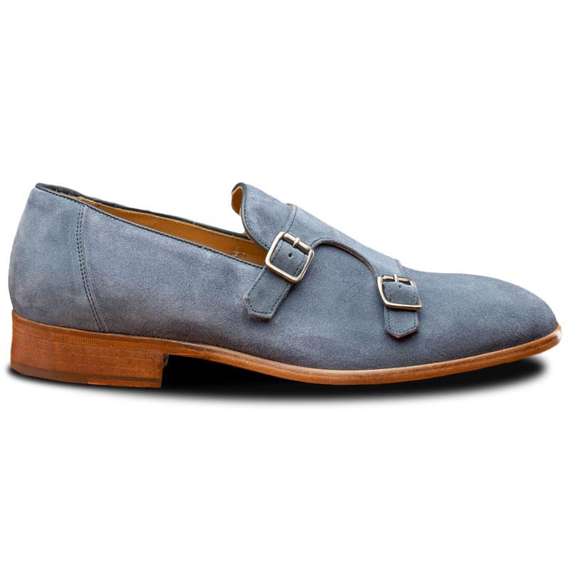 Calzoleria Toscana Z893 Double Monk Strap Shoes Jean Blue Image