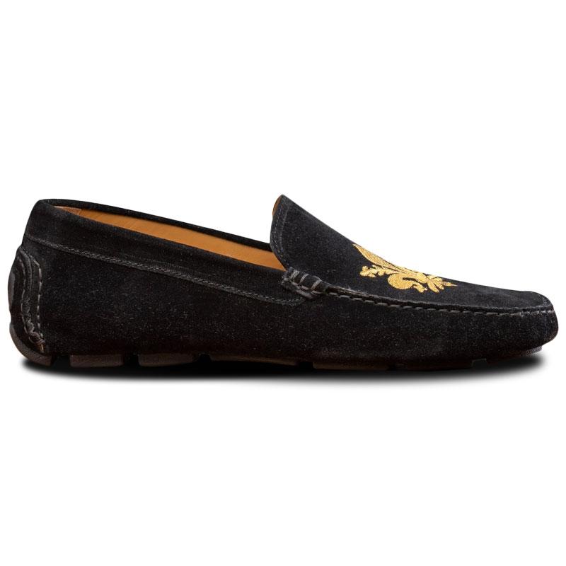 Calzoleria Toscana 5303 Venetian Suede Driving Loafers Black Image