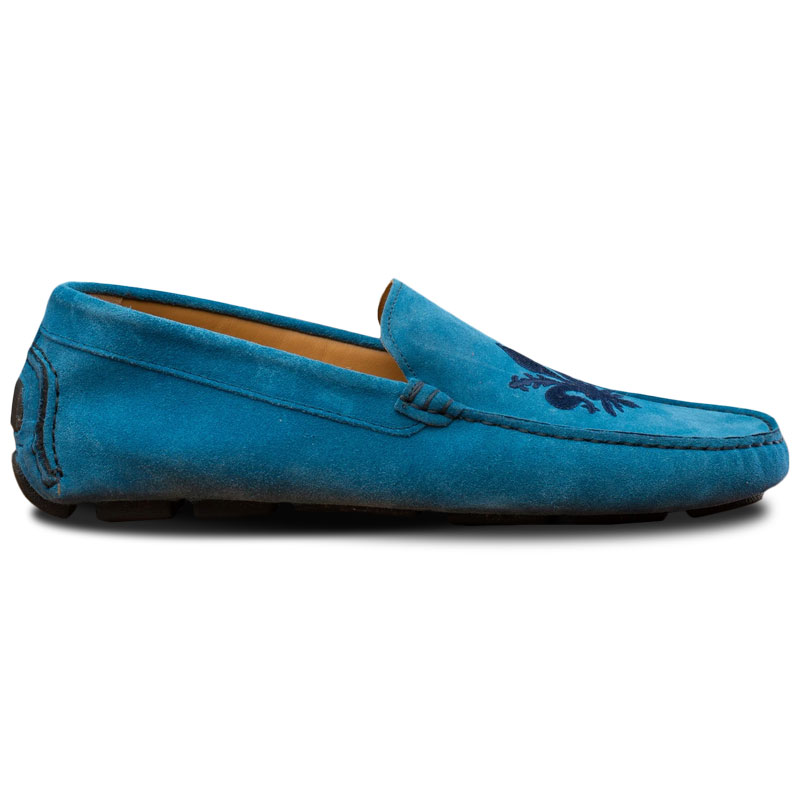 Calzoleria Toscana 5303 Venetian Suede Driving Loafers Denim Image