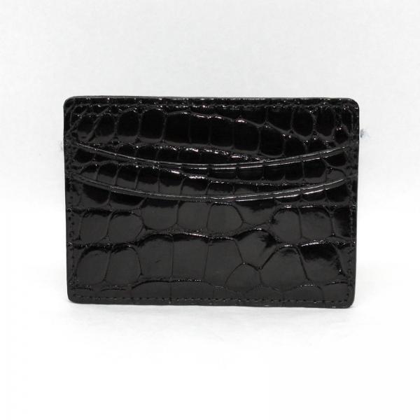 Torino Leather Genuine Alligator Card Case - Black Image