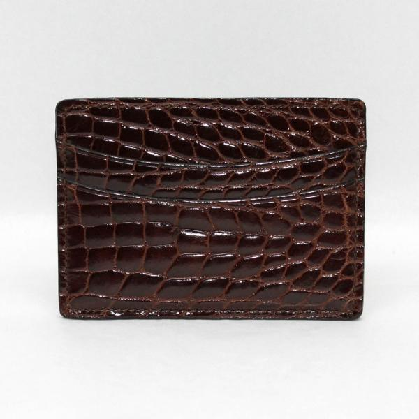 Torino Leather Genuine Alligator Card Case - Brown Image