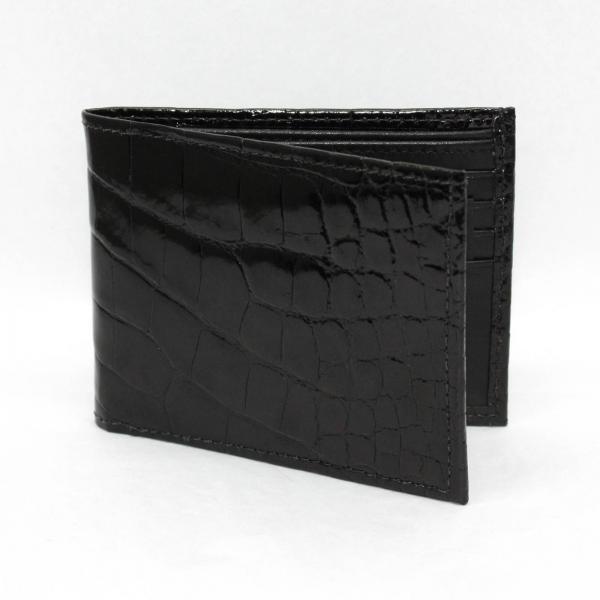 Torino Leather Genuine Alligator Flat Fold Wallet - Black Image