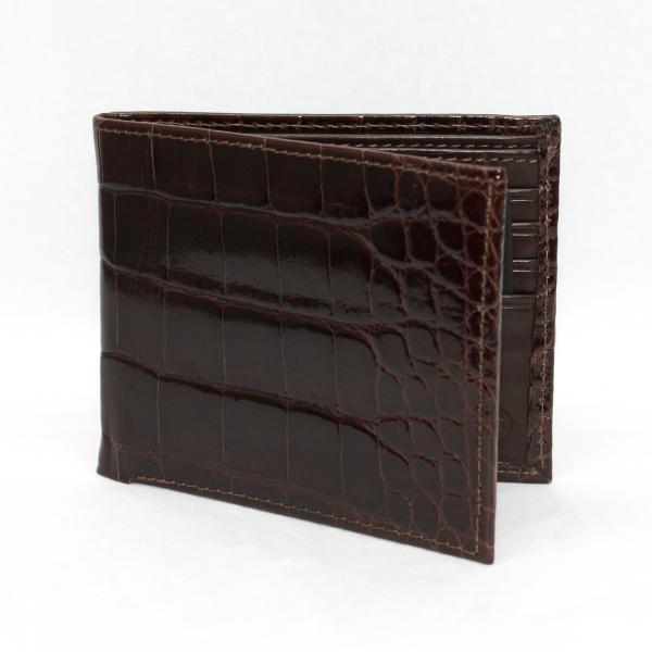 Torino Leather Genuine Alligator Flat Fold Wallet - Brown Image