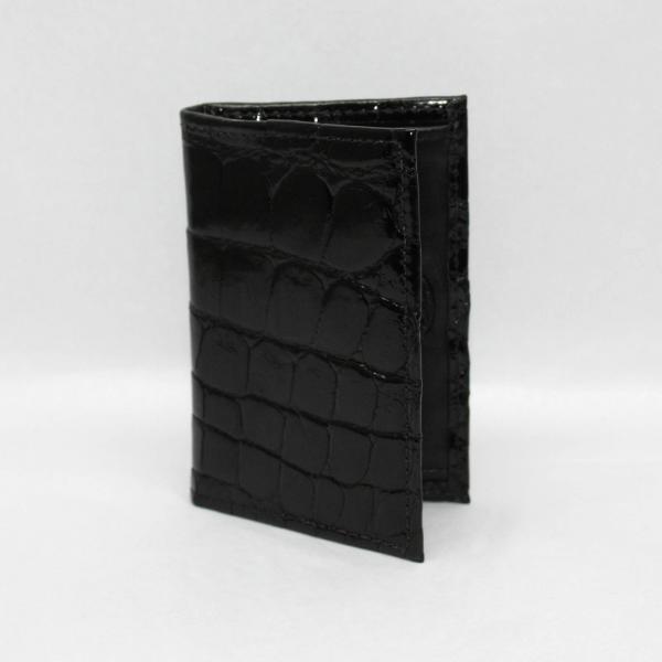 Torino Leather Genuine Alligator Gusseted Card Case - Black Image
