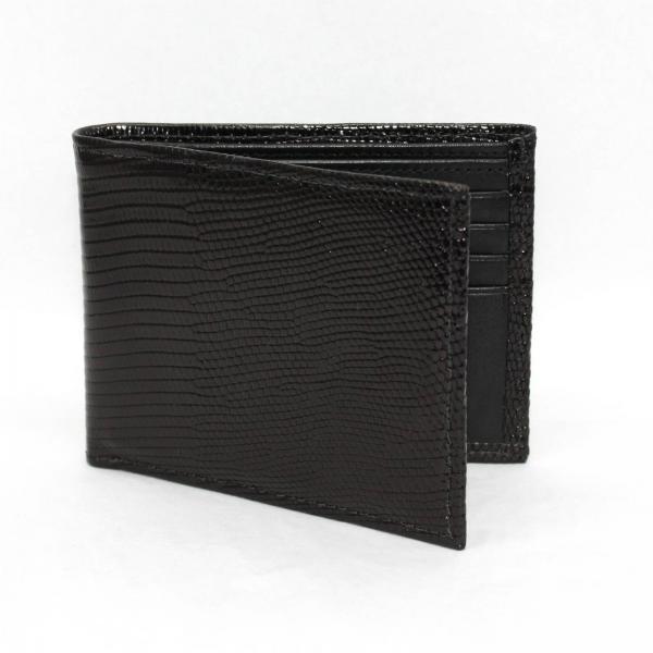 Torino Leather Genuine Lizard Billfold - Black Image