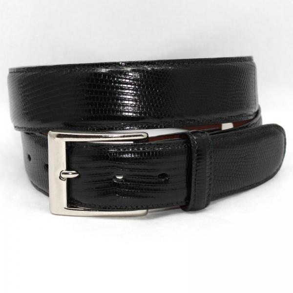 Torino Leather Big & Tall Genuine Lizard Belt - Black Image