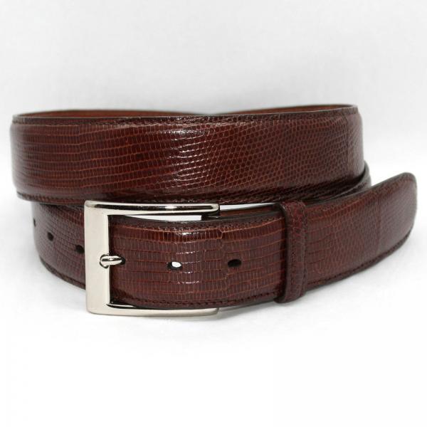 Torino Leather Genuine Lizard 35mm Belt - Cognac Image