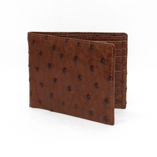 Torino Leather Genuine Ostrich Billfold Wallet - Brown Image