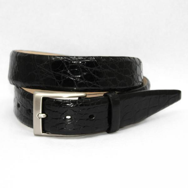 Torino Leather Glazed South American Caiman Croc Belt - Black Image