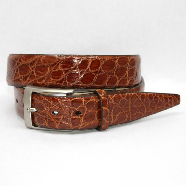 Torino Leather Glazed South American Caiman Croc Belt - Cognac Image
