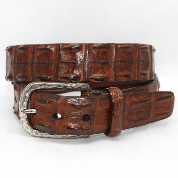 Torino Leather Hornback Crocodile Belt Nickel Buckle - Cognac Image