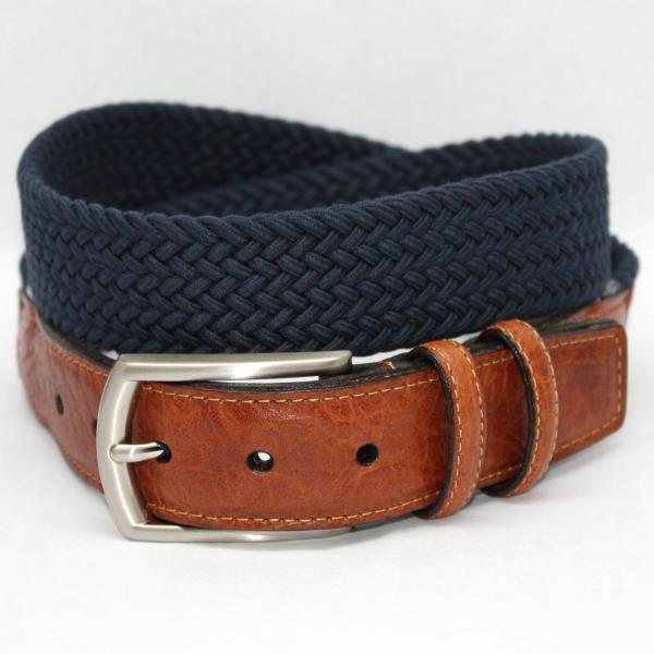 Torino Leather Italian Woven Cotton Elastic Belt - Navy Image