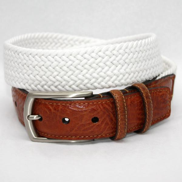 Torino Leather  Italian Woven Cotton Elastic Belt - White Image