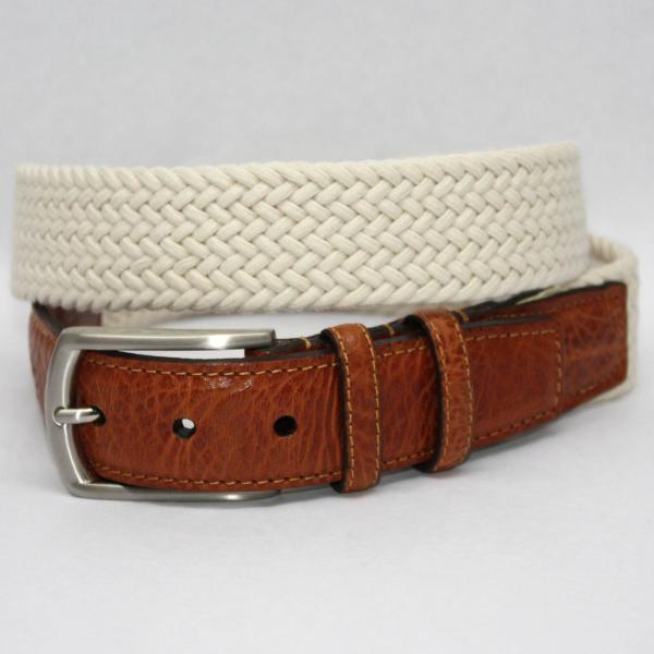 Torino Leather Italian Woven Cotton Elastic Belt - Cream Image