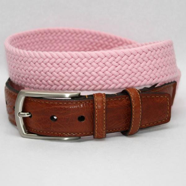 Torino Leather Italian Woven Cotton Elastic Belt - Pink Image