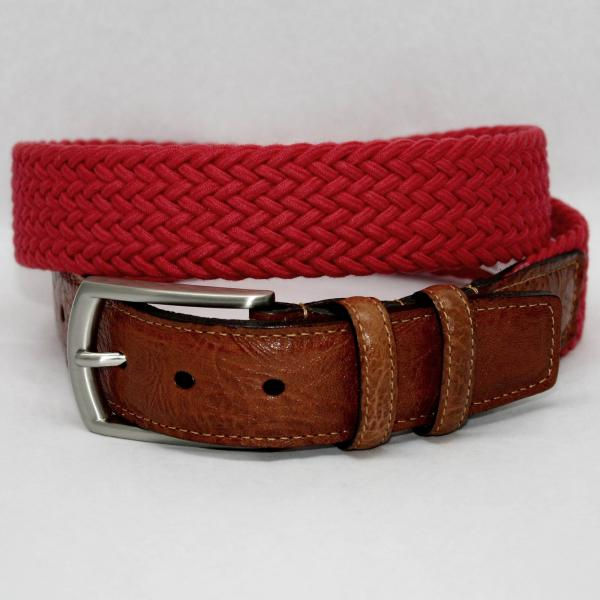 Torino Leather Italian Woven Cotton Elastic Belt - Red Image