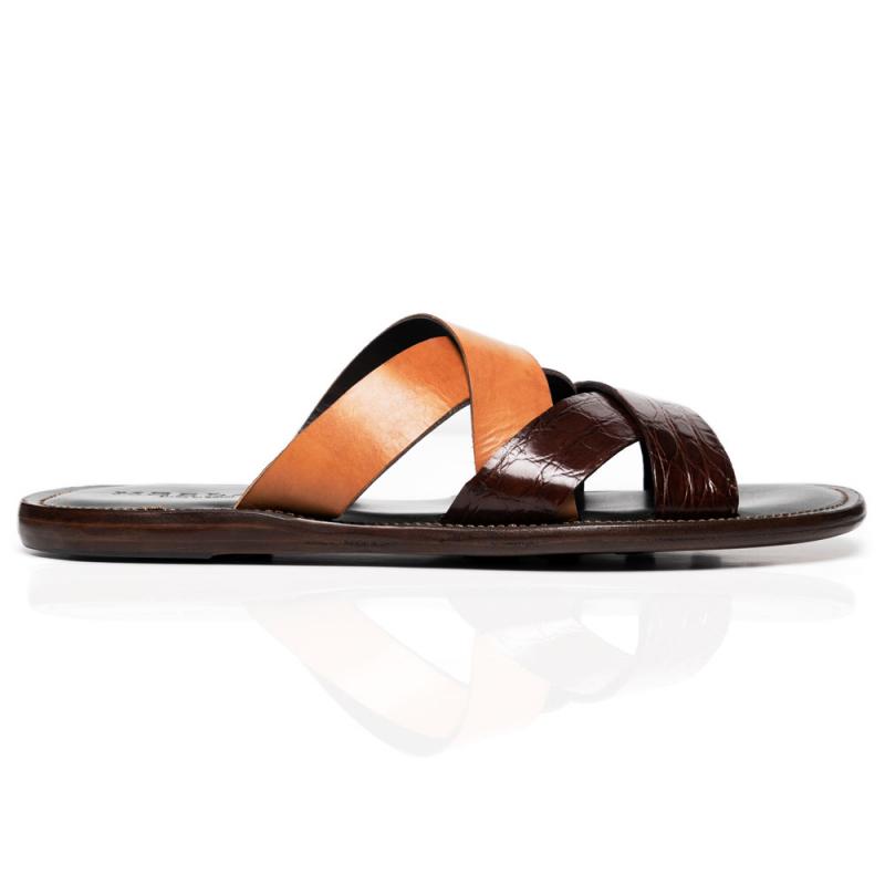 Mezlan 4669-C Crocodile & Calf Sandals Sport / Camel Image