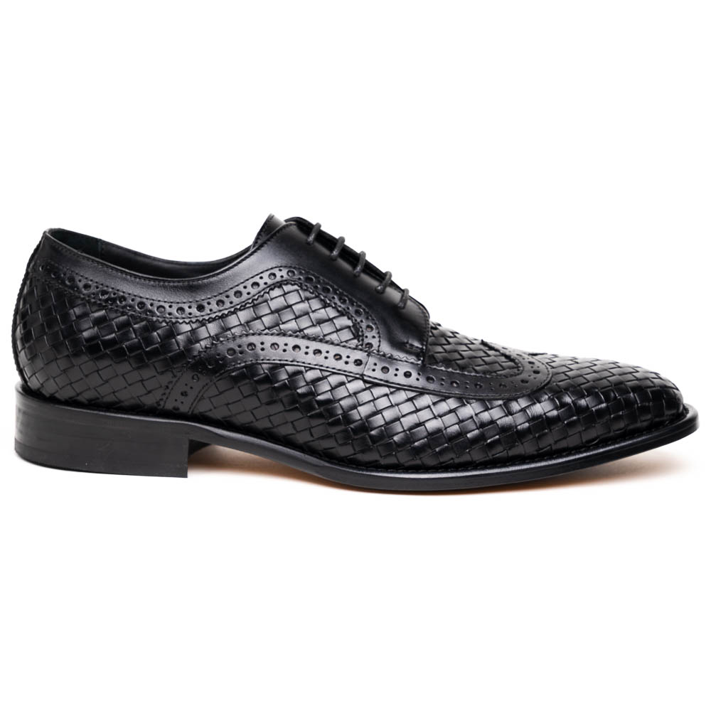 Calzoleria Toscana Q979 Woven Wingtip Lace Up Shoes Black Image
