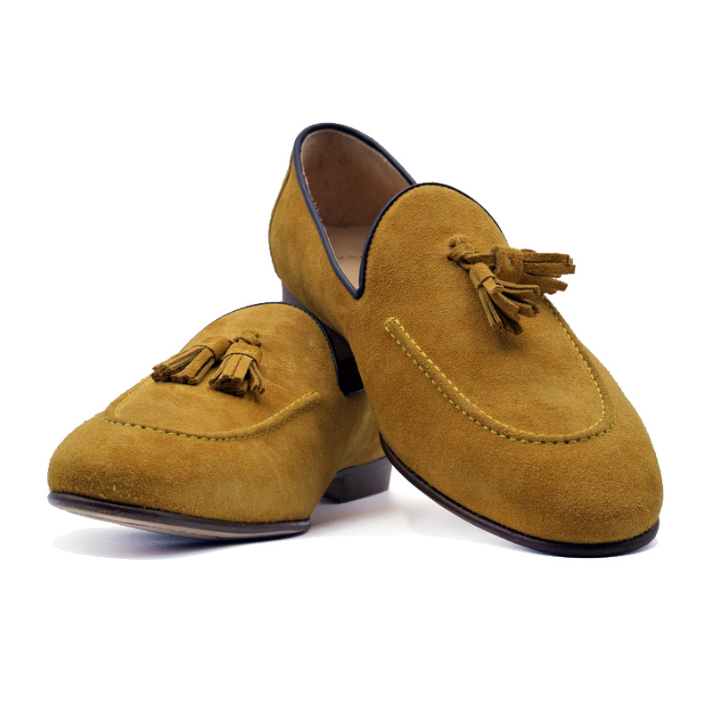 Zelli Suede Calfskin Tassel Loafer - Mustard Image