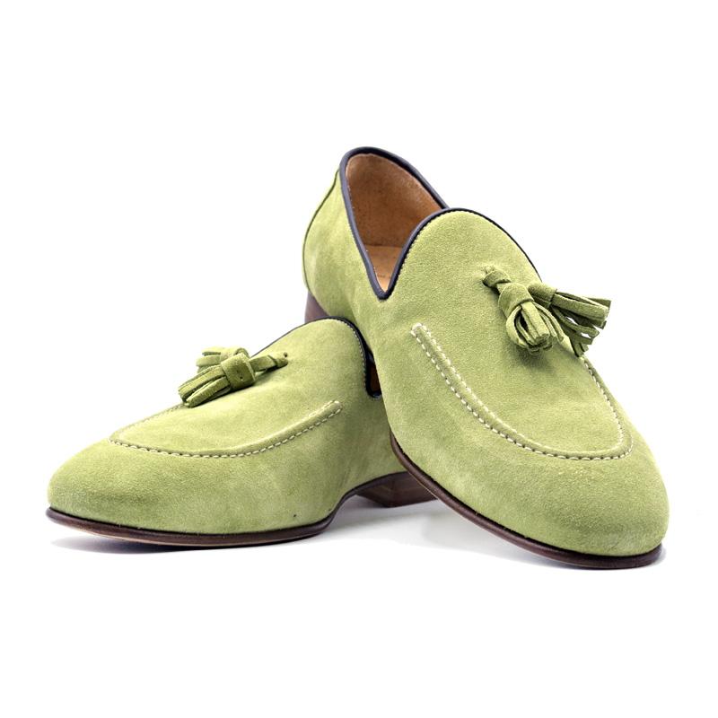 Zelli Suede Calfskin Tassel Loafer - Lime Image