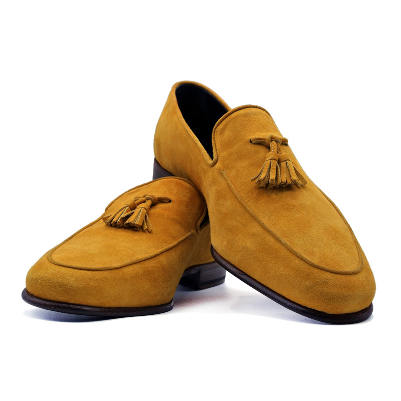 Zelli Sueded Goatskin Tassel Loafer - Mustard Image