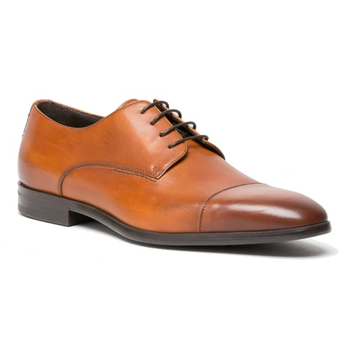 A. Testoni M50004 Cap Toe Derby Shoes Caramel Image